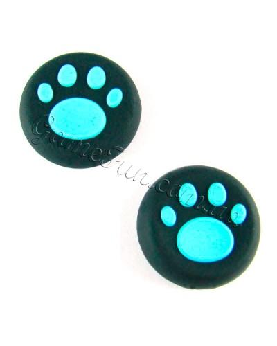 Силиконовые накладки на ручки аналогов PS 4 (Cat Claw) BLUE (2шт)