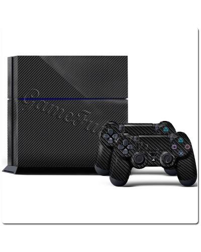 PS4 виниловые наклейки карбон (black)