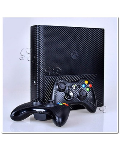 Xbox 360 Slim E виниловые наклейки карбон (black)